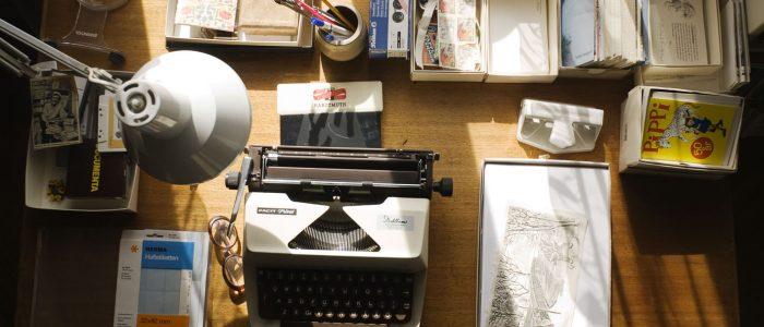 Astrid Lindgren Archives / Astrid Lindgren's desk with her typewriter, letters and manuscripts